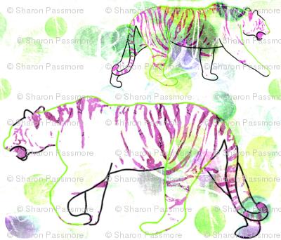 Stalking Tiger - White Purple Green