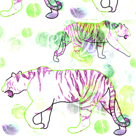 Stalking Tiger - White Purple Green fabric by chinaberries_studio on Spoonflower - custom fabric