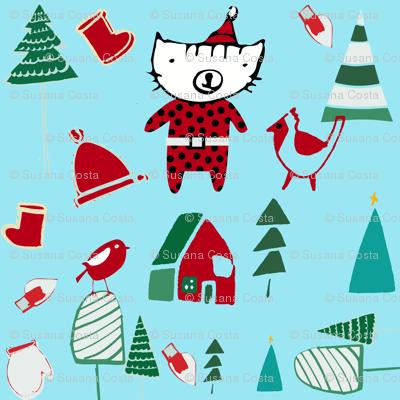 cute santa cat blue
