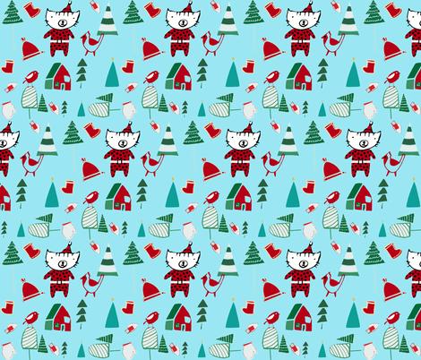 cute santa cat blue fabric by bruxamagica on Spoonflower - custom fabric