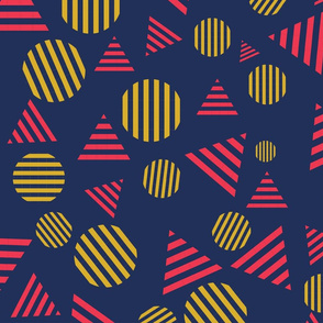 Blue, Red and Yellow Striped Circles