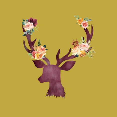 Rautumn_wine_floral_deer_on_golden_yellow_shop_preview