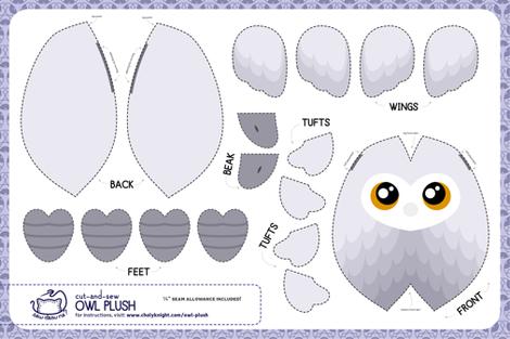 Cut & Sew White Owl Plush fabric by sewdesune on Spoonflower - custom fabric