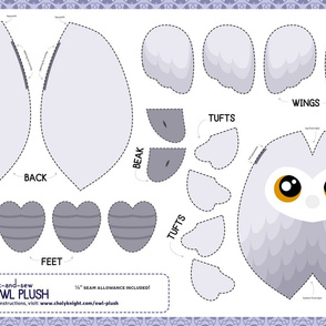 Cut & Sew White Owl Plush