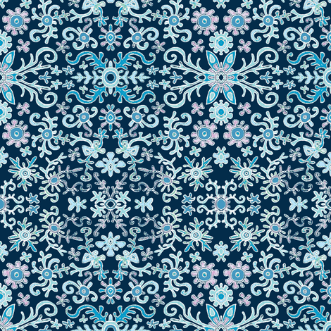 Blue Fake Flowers fabric by palusalu on Spoonflower - custom fabric