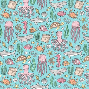 Ocean Marine Sea Life Doodle with Shark, Whale, Octopus, Yellyfish, Seaturtle on Blue Smaller