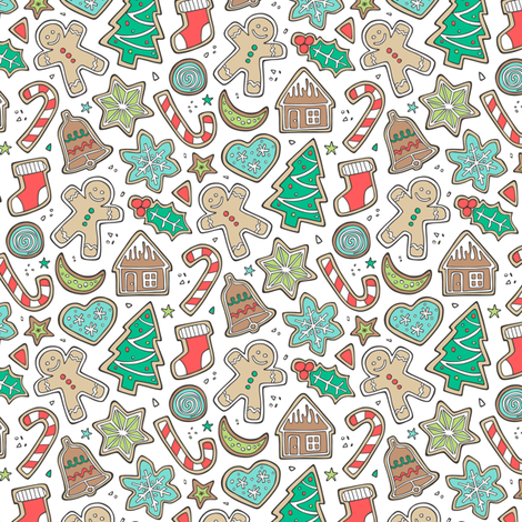 Christmas Xmas Holiday Gingerbread Man Cookies Winter Candy Treats on White Smaller fabric by caja_design on Spoonflower - custom fabric
