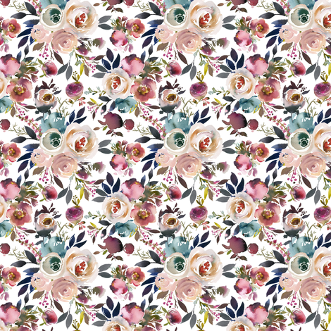 Indigo Dusk Floral White small fabric by lil'faye on Spoonflower - custom fabric