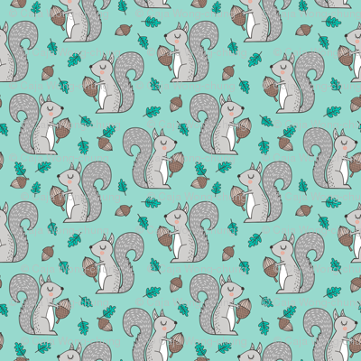 Forest Squirrel Squirrels with Leaves &  Acorn Autumn Fall on Mint Green Smaller