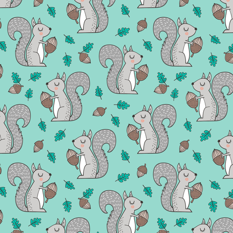 Forest Squirrel Squirrels with Leaves &  Acorn Autumn Fall on Mint Green Smaller fabric by caja_design on Spoonflower - custom fabric