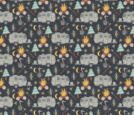 Retro RV Camping fabric by musingtreedesigns on Spoonflower - custom fabric