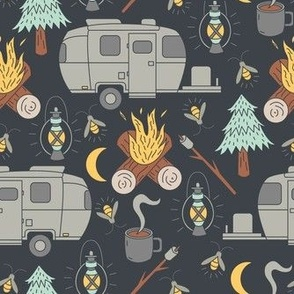 Camping Fabric Wallpaper Gift Wrap
