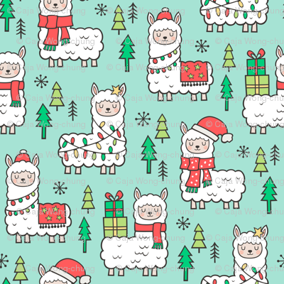 Holidays Christmas llamas on Mint Green