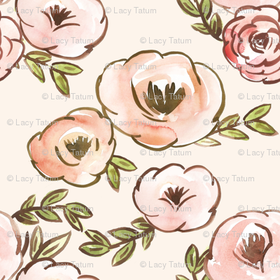 Soft Blush Fall Watercolor Floral