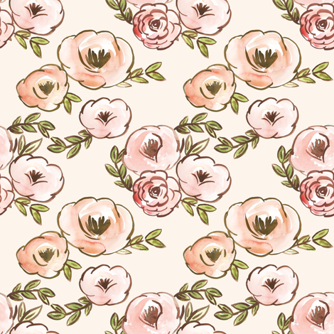 Soft Blush Fall Watercolor Floral  fabric by smallhoursshop on Spoonflower - custom fabric