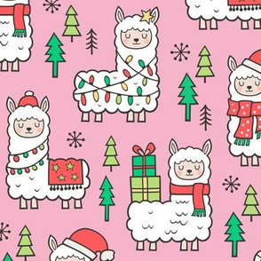 Holidays Christmas llamas on Pink
