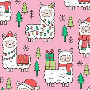 Holidays Christmas llamas on Pink