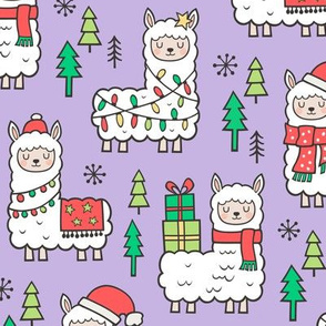 Holidays Christmas llamas on Purple