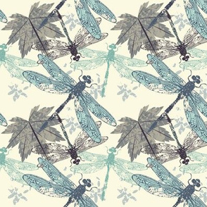 Beautiful seamless pattern with dragonflies maple leaves and decorative elements