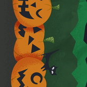 Retro Pumpkins - BORDER FABRIC