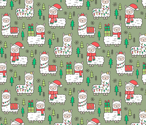 Holidays Christmas llamas on Green Olive fabric by caja_design on Spoonflower - custom fabric