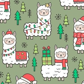 Holidays Christmas llamas on Green Olive