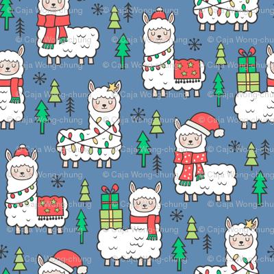 Holidays Christmas llamas on Dark Blue Navy