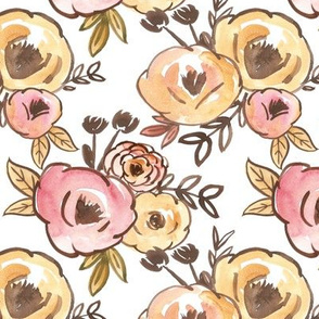 Mustard and Pink Fall Floral Watercolor