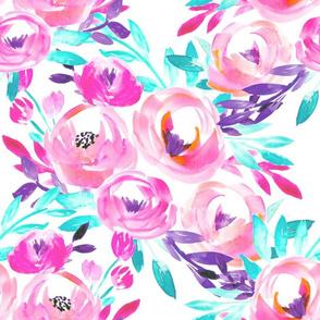 Pink Cyan Aqua Bright Watercolor Floral