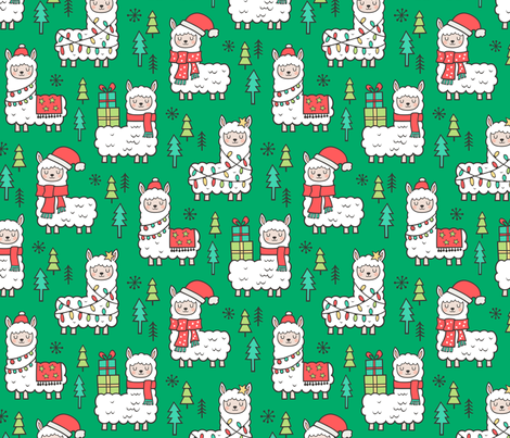 Holidays Christmas llamas on Green fabric by caja_design on Spoonflower - custom fabric