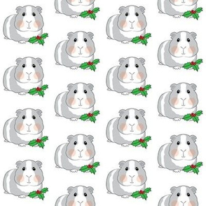 christmas guinea pigs with holly