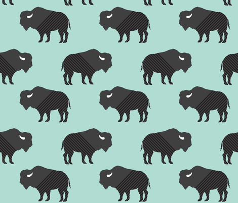 Buffalo Stripes on Aqua  fabric by graceandcruzdesigns on Spoonflower - custom fabric