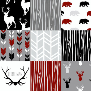 Patchwork Deer - Red, Black, Grey and White