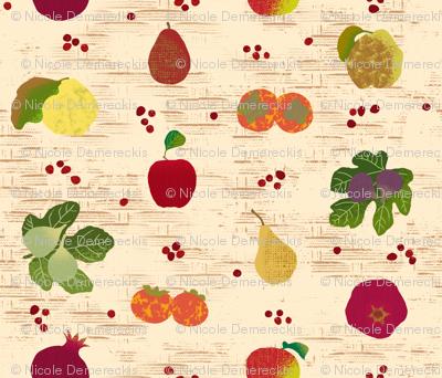 Fall Fruits Medley Tan Basket