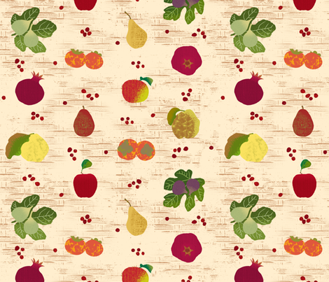Fall Fruits Medley Tan Basket fabric by wickedrefined on Spoonflower - custom fabric