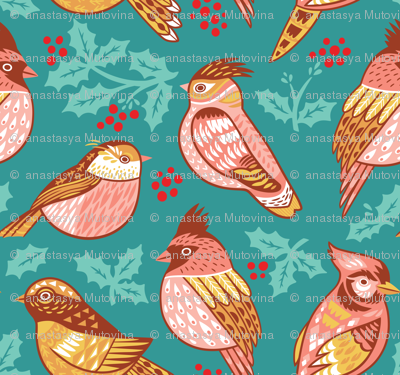 Decorative birds and holly berries