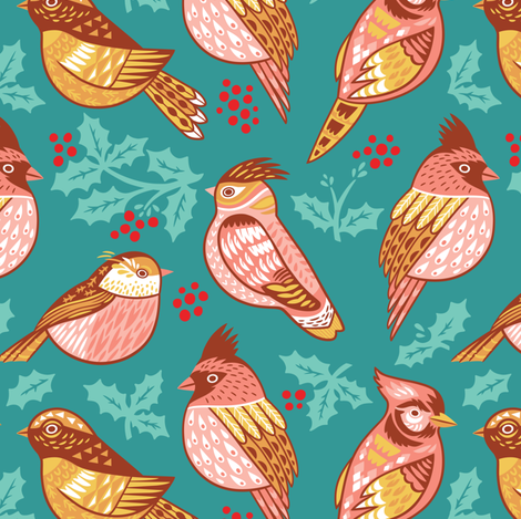 Decorative birds and holly berries fabric by penguinhouse on Spoonflower - custom fabric