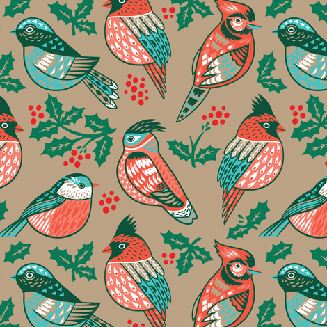 Vintage winter birds  fabric by penguinhouse on Spoonflower - custom fabric