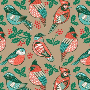 Vintage winter birds