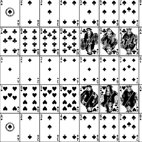Playing Cards // Black & White fabric by thinlinetextiles on Spoonflower - custom fabric