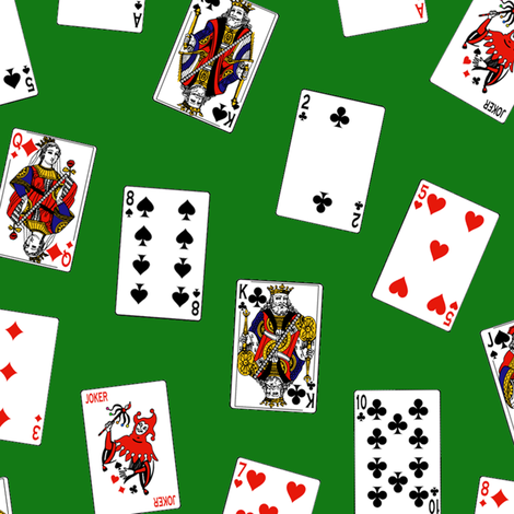 Playing Cards // Green fabric by thinlinetextiles on Spoonflower - custom fabric