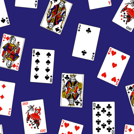 Scattered Playing Cards // Dark Blue fabric by thinlinetextiles on Spoonflower - custom fabric
