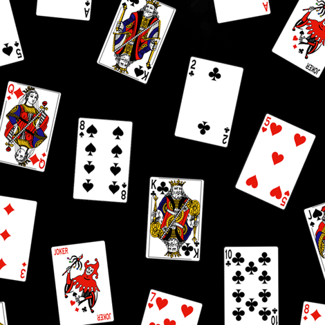 Scattered Playing Cards // Black fabric by thinlinetextiles on Spoonflower - custom fabric