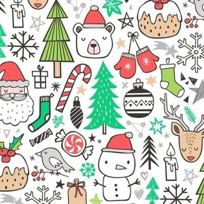 Xmas Christmas Winter Doodle with Snowman, Santa, Deer, Snowflakes, Trees, Mittens Green Red