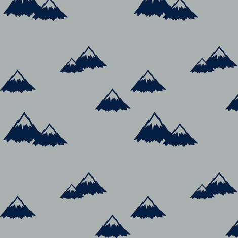 Mountains - navy on grey (northern lights) fabric by littlearrowdesign on Spoonflower - custom fabric