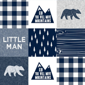 Little Man & You Will Move Mountains Quilt Top - Navy (bear)