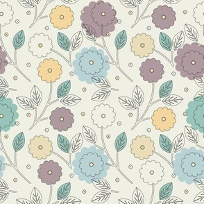 Decorative seamless pattern with stylish flowers and leaves