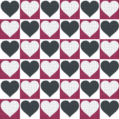 Black and Burgundy Hearts