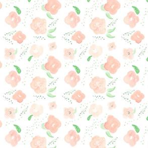 peachy watercolor floral