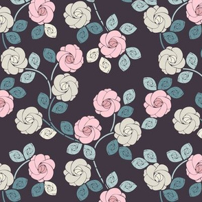 Perfect seamless pattern with beautiful roses and leaves